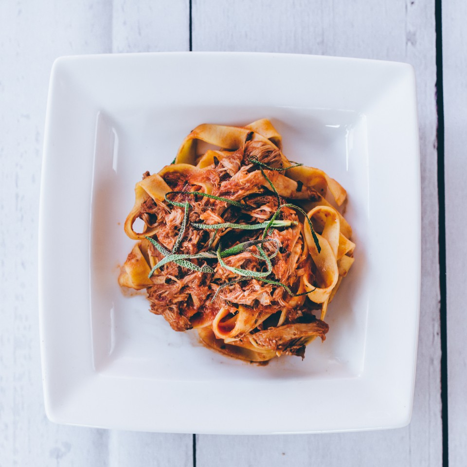 Tagliatelle with a rich rabbit ragu and sage